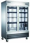 Commercial Stainless Steel 2 Glass Door Reach-In Freezer