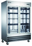 Commercial Stainless Steel 2 Glass Door Reach-In Refrigerator