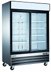 Commercial 2 Sliding Glass Door Stainless Steel Merchandiser Refrigerator