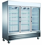 Commercial 3 Glass Door Stainless Steel Merchandiser Refrigerator