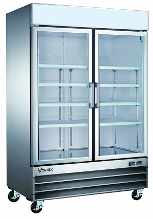 Commercial 2 Glass Door Stainless Steel Merchandiser Refrigerator